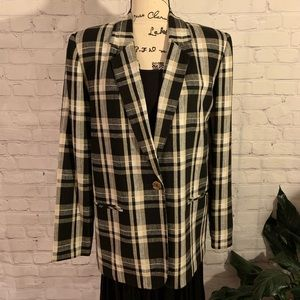 REQUIREMENTS Classic Plaid Blazer in Linen/Rayon